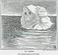Appeal For Victims Of Titanic Disaster & Somber Cartoon Of Iceberg 1912 Print