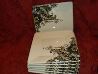 """NEW - MINT Tabletop Gallery Angela Square Salad Plate Set Of 7,  8"""" plates..NEW!"""
