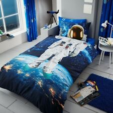 ASTRONAUT SPACE MAN KIDS BOYS SINGLE BED DUVET QUILT COVER BEDDING SET BLUE NEW