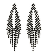 Black Clip On Earrings chandelier style earring with crystals - Caca B