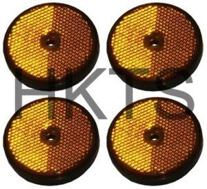 4 x Round Amber Side Reflectors for Trailers, Orange, Trucks, Caravan, Maypole