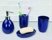 Home Basics 4 Piece Bath Accessory Set, Navy - BA41531