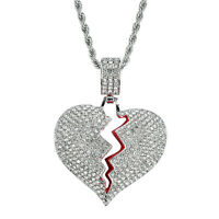 """Fashion Stainless Steel Broken Heart Pendant 3mm 24"""" Rope Chain Necklace Jewelry"""