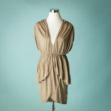 Alice Olivia Medium Dress Wrap Tulip V Neck Base Collection Cotton Knit Beige