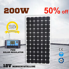 200W 12V Solar Panel Kit Caravan MONO Camping Power Charging PWM Regulator