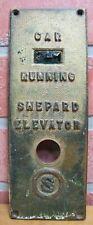 Old SHEPARD ELEVATOR CAR RUNNING Control Panel Button S Logo Bevel Edge Brass