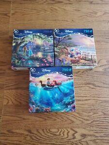 Lot Of 3 Disney Thomas Kinkade Signature  750 Puzzles