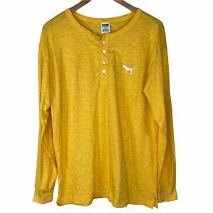 Victoria's Secret PINK Women's M Campus Henley Long Sleeve T-Shirt Yellow Dog