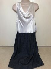 Worth New York Indigo White Silk Sleeveless Cowl Sheath Dress Sz 8 NWT $498 NEW