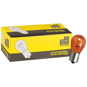 10x BREHMA PY21W Blinkerlampe 12V 21W orange Kugel Lampe BAU15s Blinker Birne