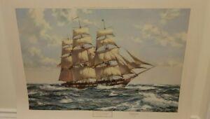Montague Dawson signed print - The USS Constellation