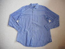 """Mens Shirt-BANANA REPUBLIC-navy/blue/white striped """"fitted"""" cotton long sleeve-L"""