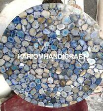 24'' Agate Precious Blue Stone Coffee Centre Table Top Beautiful Home Decor