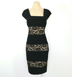 ADRIANNA PAPELL Size 12 Dress Black Tan Lace Stretch Party Cocktail EUC