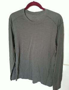PATAGONIA Mens L/S Merino Wool Blend Base Layer Shirt L Olive
