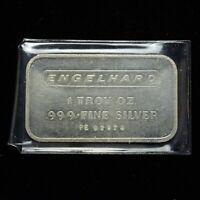 Vintage Engelhard Silver Bar 1oz .999 Fine Silver (slb1498)