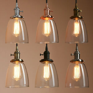 Modern Vintage Industrial Ceiling Lamp Cafe Glass Pendant Light Shade w Switch