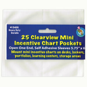 """Ashley Clear View Self-Adhesive Mini Incentive Chart Pocket 6"""" x 7"""", Pack of 25"""