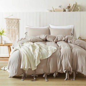 Lace Ruffle Duvet Cover with Pillow Case Quilt Set Twin Queen King Colorful Soft