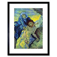 Painting Van Gogh After Delacroix Pieta Pity Old Master Framed Print 12x16 Inch