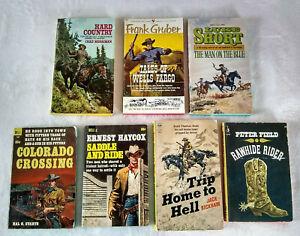 Lot of 7 Vintage 50s 60s 70s Paperback Western Novels Luke Short Frank Gruber