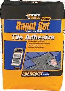 Everbuild 705 Rapid Set Wall & Floor Tile Mortar Adhesive 20Kg - Grey Int & Ext