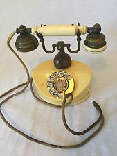 Vintage Rotary Dial Antique French Style Telephone w/ Brass Cradle-Made in Japan