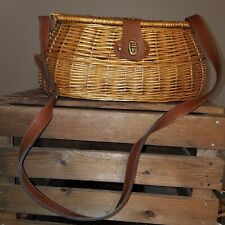 Fine Vintage Fishing Creel Basket River Trout Fly Fish Wicker Leather