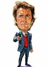 "Clint Eastwood ""Dirty Harry"" Caricature Sticker or Magnet"