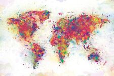 GIANT WORLD MAP - COLOR SPLASH! - 55X39 POSTER ~ Country Earth Continents