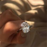 Lady Rhinestone Crystal Charm Ring Oval Engagement Wedding Finger Jewelry Gift