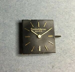 Vintage Baume & Mercier Geneve Black Watch Dial And Swiss 17j Movement For Parts