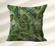 throw pillows for leather couch vintage peacock feather cushion cover