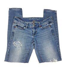 American Eagle Super Skinny Jeans Distressed Stone Wash Cotton Size 4