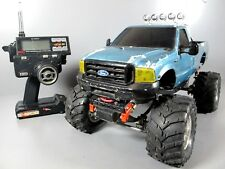 Vintage Tamiya 1/10 RC Toyota Bruiser 4WD Pick Up Kit Hitec with Ford F350 Body
