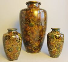 "Fine Antique 12"" CHINESE CLOISONNE Vase w/ Rare Inscriptions on Base  c. 1930"