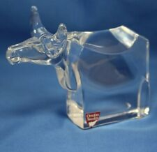 Orrefors Sweden Crystal Clear Glass Bull Animal Paperweight