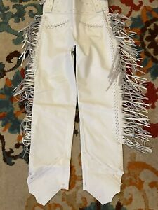 "34"" Mens Native American White Bucksin leather Cowboy pants fringes Western Hunt"