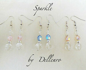 ✫SPARKLE✫ SILVER PLATED CRYSTAL DROP DANGLE EARRINGS Pink, Blue or Peach