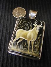 hand painted buck deer on black onyx sterling silver handmade pendant slide NEW