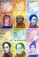 SET, Venezuela, 2;5;10;20;50;100 Bolivares, 2007-2015, P-88;89;90;91;92;93 UNC