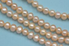 5-6mm Peach Round Potato Freshwater Pearls Beads A for Jewellery Making
