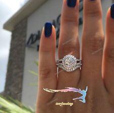 2Ct Diamond Engagement Wedding Double Round Halo Bridal Ring Set White Gold Over