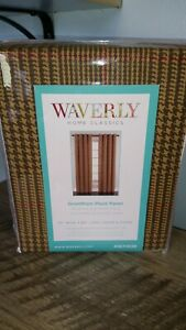 Waverly 52x84 Grantham Brown Plaid HOUNDSTOOTH Grommet Window Curtain Panels