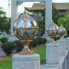 European Style Tea Glass Globe Metal Outdoor Pillar Light Black/Brass Gatepost