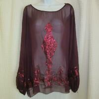 Sophie Max Sheer Long Sleeved Wine / Burgundy Blouse w/Sequins sz M