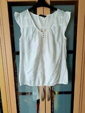 Ladies DOROTHY PERKINS white cotton top,size 14,elasticated hem patterned front