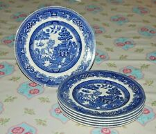 "Alfred Meakin Set 6 Old Willow Dinner Plates 9.75"" Diameter."