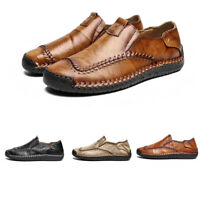 Chic Mens Solid Loafers Round Toe Leisure Slip On Outdoor Driving Leather Shoes