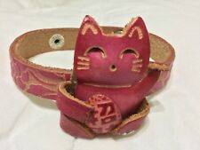 """HAND MADE EMBOSSED GENUINE LEATHER LUCKY CAT WRIST BAND (1.5"""" X  8.0"""")"""
